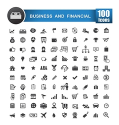 100 icons set of business and financial isolated vector image vector image