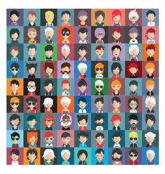 Set of people icons in flat style with faces 20 b vector