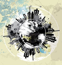 art grunge background with globe urban vector image