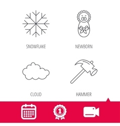 Newborn cloud and snowflake icons vector