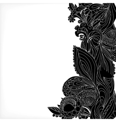 Vintage black floral ornament background vector image