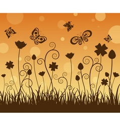 Silhouette butterfly and flowers vector