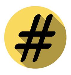 hashtag sign   flat black icon vector image