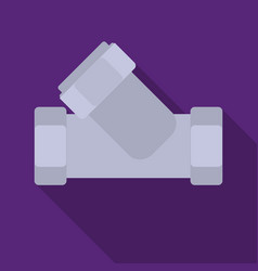 Tee plumbing fitting icon in flate style isolated vector