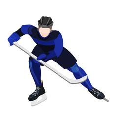 Athlete with ice-hockey stick playing hockey vector