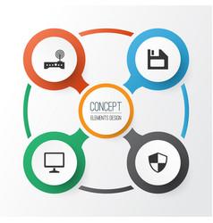 Digital icons set collection of diskette desktop vector