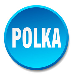 Polka blue round flat isolated push button vector