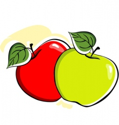 Two apple with leafs vector