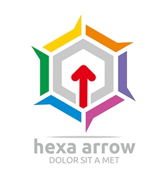 Logo hexagon arrow icon abstract vector