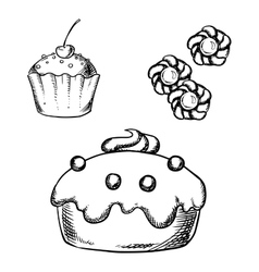 Cake cupcake and cookies sketches vector