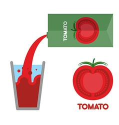 Tomato juice pour tomato juice into glass vector