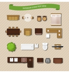 Interior icons top view vector