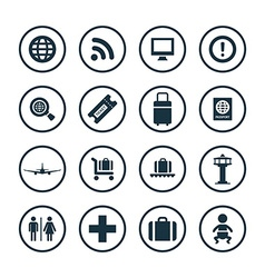 Airport icons universal set vector