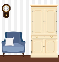 Cabinet and armchair vector