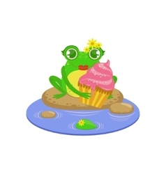 Cartoon frog character with cupcake vector