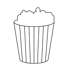 Popcorn in cardboard bucket icon outline style vector