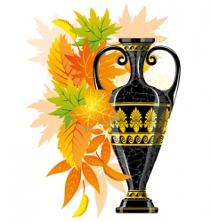 antique amphora with autumn leaves vector image