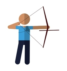 Archery player aiming bow game vector