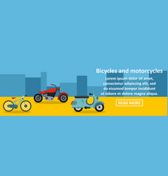 Bicycles and motorcycles banner horizontal concept vector