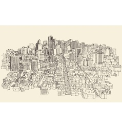Big city Architecture Engraved Sketch vector image vector image