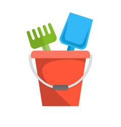 Bucket rake and shovel for children sandbox icon vector