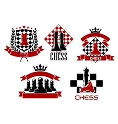 Chess game sporting club emblems design vector