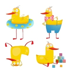 Child duck funny colorful toy set vector