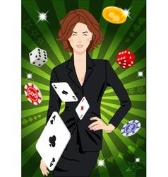 Confident lucky girl throws aces vector image vector image