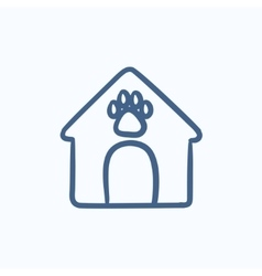 Doghouse sketch icon vector image vector image
