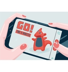 Go Find a monster with phone Mobile game vector image