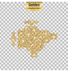 Gold glitter icon of valve isolated on vector