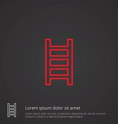 Ladder outline symbol red on dark background logo vector