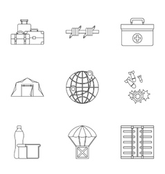 Left country icons set outline style vector