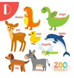 Letter D Cute animals Funny cartoon animals in vector image vector image