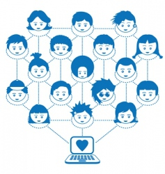networking kids vector image vector image
