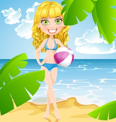 Playful girl with inflatable ball on sunny beach vector image