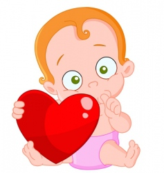 red hair baby girl valentine vector image vector image