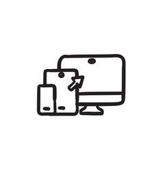 Responsive web design sketch icon vector