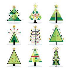 retro green and trendy isolated pop art christmas vector image vector image
