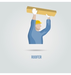 Roofer with wood icon vector image