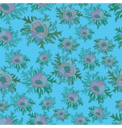 Seamless pattern with anemones in blue color vector