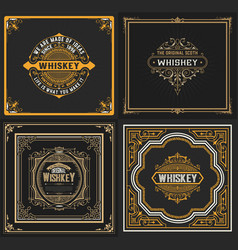 set of 4 old cards western style vector image vector image