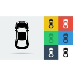Seven flat icons of top view car vector