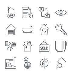 Simple set of real estate related line vector