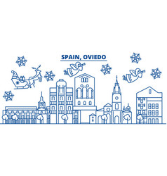 Spain oviedo winter city skyline merry christmas vector