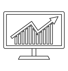 Statistics on monitor icon outline style vector image vector image