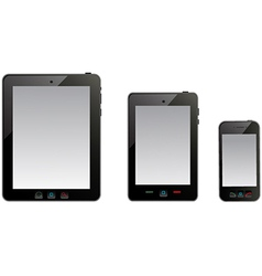 tablet computer and mobile phone on the white vector image