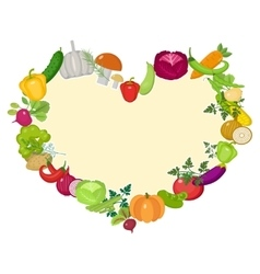 Vegetables frame in the shape of a heart Flat vector image vector image