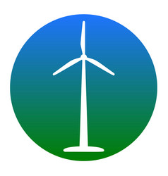 Wind turbine logo or sign white icon in vector