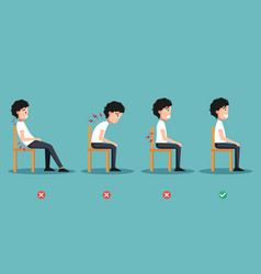 wrong and right ways positions for sitting vector image vector image